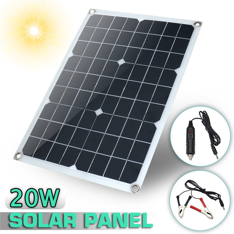 Hot Kinco Solar Panel 12V 20W USB Monocrystalline Solar Panel with Car Charger for Outdoor Camping