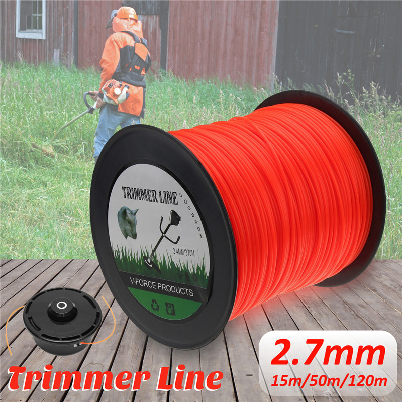 2.7mm 50m/120m Mowing Nylon Rope Line Strimmer Brushcutter Trimmer Long Round Roll Square Grass Trimmer Head Nylon Line