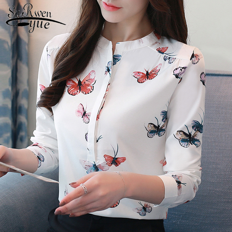 long sleeve women   shirts   plus size white   blouse   print women   blouse     shirt   fashion womens   blouses   and tops office   blouse   1042 40