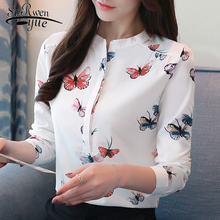 long sleeve women shirts plus size white blouse print women