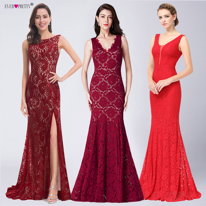 Ever Pretty Mermaid Party   Prom     Dresses   2018 Women's Sexy Full Lace Sleeveless Burgundy Cheap   Prom   Long Elegant   Dresses