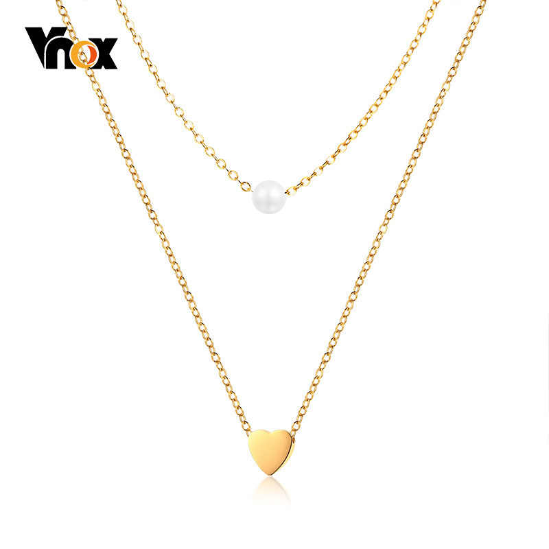 Vnox Layered Heart Cross Charm Choker for Women Simulated Pearl Stainless Steel Elegant Female Chic Street Wear Jewelry