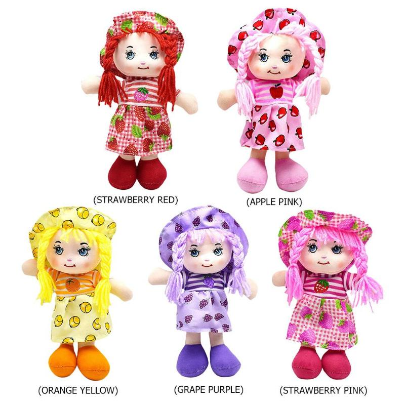 Image 2 - 25cm Cartoon Kawaii Fruit Skirt Hat Rag Dolls Soft Cute Cloth Stuffe Toys for Baby Pretend Play Girls Birthday Christmas Gifts-in Dolls from Toys & Hobbies