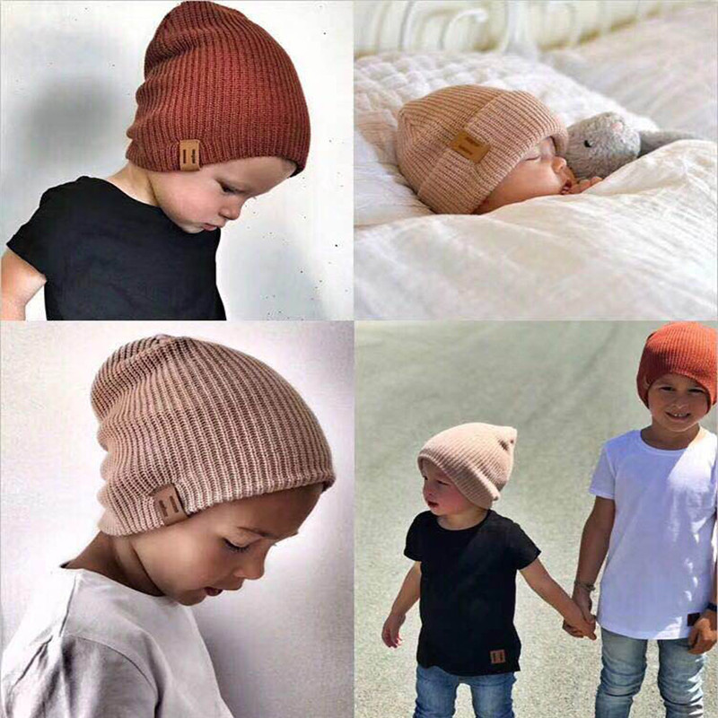 New Arrival Kids Girl Boy Winter Hat Baby Soft Warm Beanie Cap Crochet Elasticity Knit Hats Children Casual Ear Warmer Cap(China)