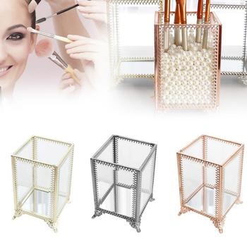 1 Piece Of Vintage Lace Style Make-up Brush Storage Holder Professional Makeup Tools With Glass Storage Box Convenient To Use
