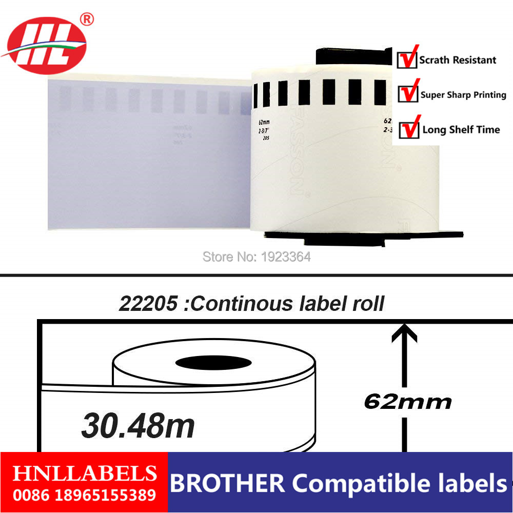 20X Rolls ETICHETTE BROTHER Dk 22205 Dk-22205 DK-2205 62mm X 30.48Mt Continuo Termico QL-560 QL-570 QL-700