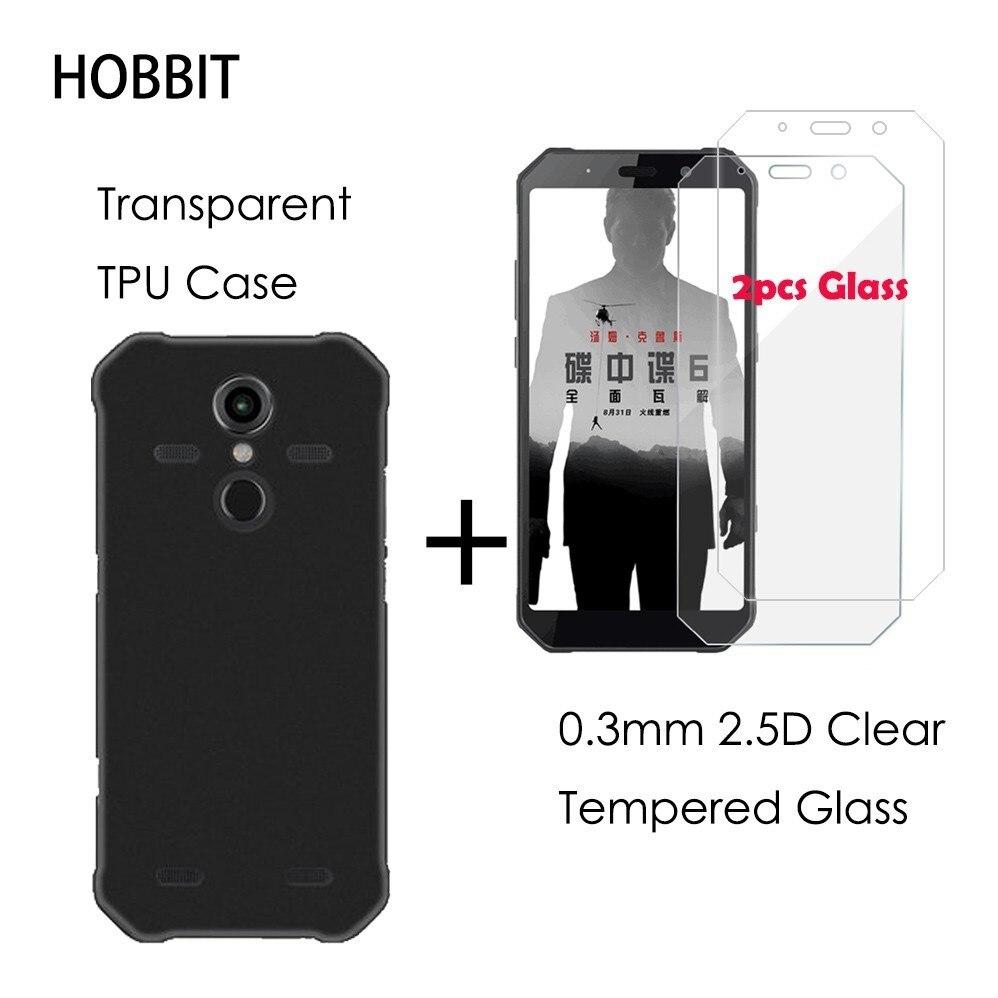 0,3 MM 2.5D claro templado vidrio Protector de pantalla para AGM A9 A9 Pro negro TPU caso de la cubierta para agm h1 protección película LCD