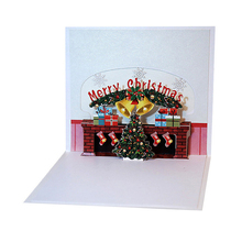 3D Pop Up Merry Christmas fireplace Handmade Custom Greeting Cards Gifts Souvenirs
