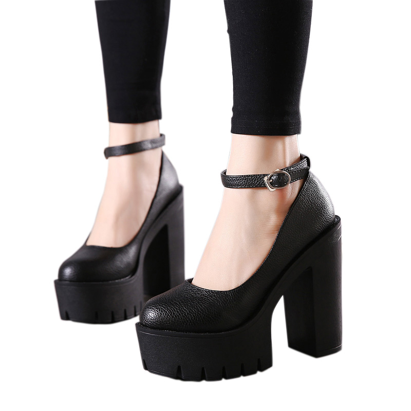 Women Heels Shoes Women Ladies Shoes Platform Shoes High Heelswomen Pumps Chunky Heels Block Heels Punk Gothic Shoes Black(China)