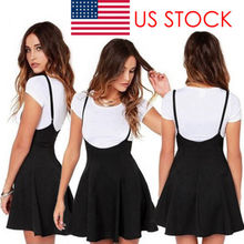 Women Mini Suspender Skater Skirt High Waisted Pleated Adjustable Strap Skirt  Ladies Solid Mini Skirts Female b48f0b609
