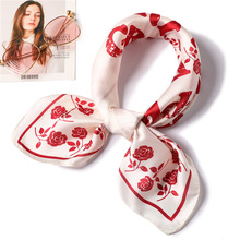 Rose floral pattern silk scarf 2019 new elegant women square scarf small winter neck scarves office lady neckerchief Accessories chic rose floral pattern voile scarf for women