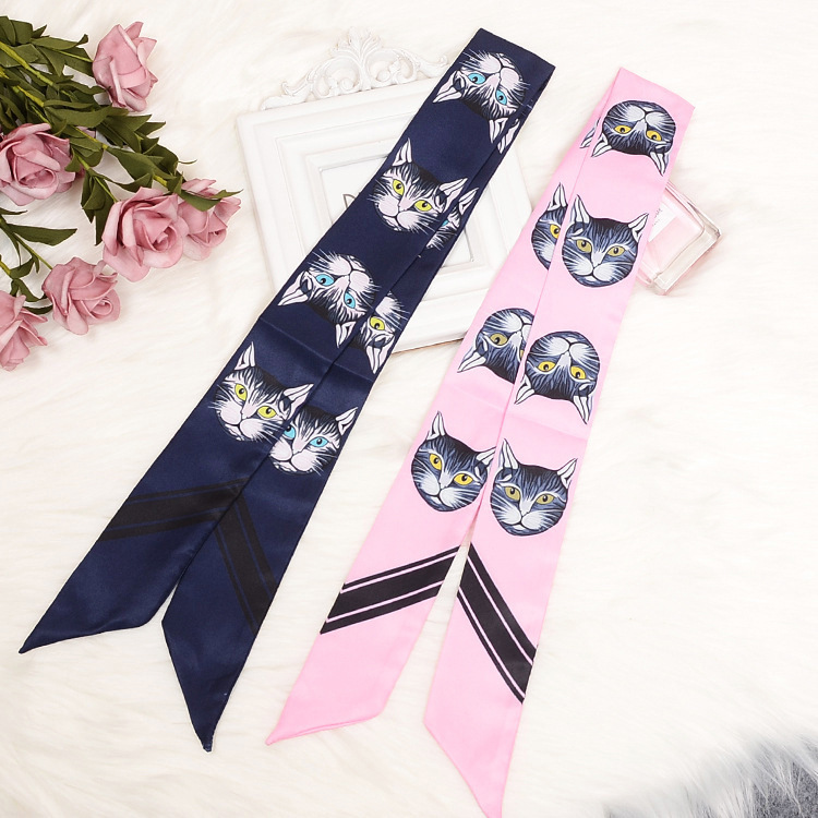 Leopard Head Skinny Scarf 2018 New Brand Silk Scarf For Women Cat Print Head Scarf Long Handle Bag Scarves Wraps