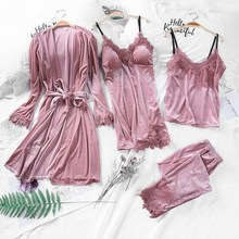 Gold Velvet 4 Peices Warm Pajamas Sets Autumn Women Sexy Lace Robe