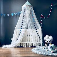 Nordic Style Kids Decoration Cotton Dome Mosquito Net Princess Baby Shed Valance Round Bed Hanging Canopy Awning Tent