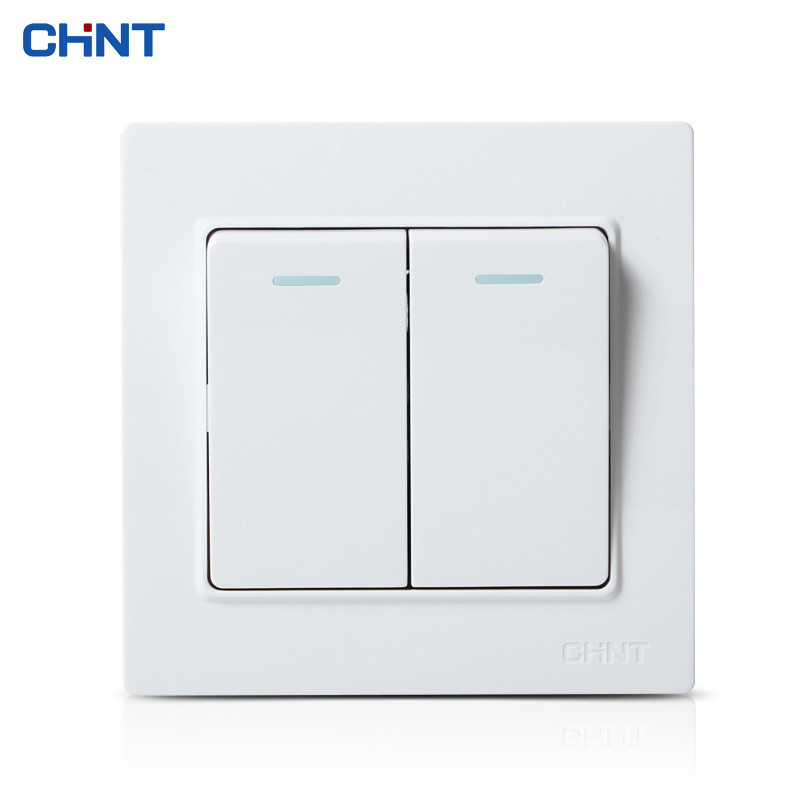 CHINT NEW7L White Color Steel Bracket Wall Switch Socket Two Panel Open Double Control