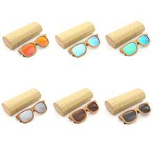 11 цветов Новые брендовые дизайнерские винтажные Овальные Солнцезащитные очки бамбуковые очки с покрытием Поляризованные деревянные прямоугольные солнцезащитные очки с бамбуковой коробкой