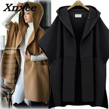 Fashion women winter hooded batwing sleeves woolen coat outerwear cloak ponchos cape coats temperament shawl female