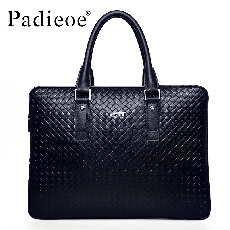 цена на Padieoe Men's Briefcase Famous Brand Tote Bag Leather Messenger Bag Business Men Handbags Fashion Shoulder Bags Free Shipping