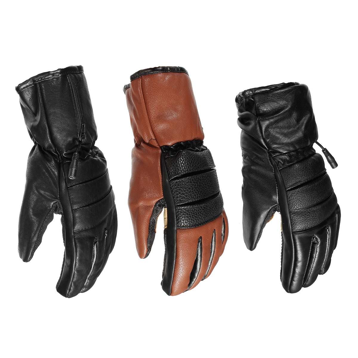 Gants chauffants électriques d'hiver PU cuir femmes hommes Rechargeable 3000 mAh batterie mitaines chauffantes chaudes intérieur épaissir gants en coton - 5
