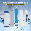 5 piezas 5 etapa RO Osmosis inversa, filtro de agua, purificador de cartucho de equipos con 50 GPD membrana filtro de agua Kit
