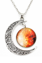 Women Galactic Glass Cabochon Pendant Crescent Moon Necklace Moon,Universe(Color numbers:2507)