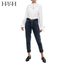 HYH HAOYIHUI Lotus Leaf Collar Cutout Butterfly Tie  Clothing Casual Loose Cotton Slim Fitted Shirt 2019 Spring Arrival Fation