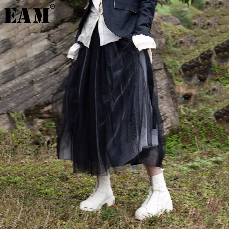 [EAM] 2020 New Spring Summer High Elastic Waist Black Hit Color Mesh Double Layers Half-body Skirt Women Fashion Tide JR476