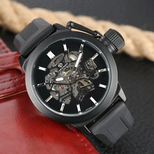 лучшая цена FORSINING Rotating Skeleton Automatic Mechanical Watch Men Luxury Brand Sports Silicone Band Mens Watch Male Clock saat erkekler