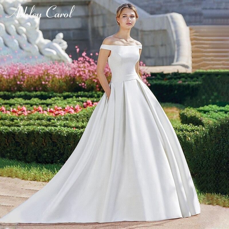 Carol Ashley Boat Neck Simples Cetim Vestidos de Casamento 2019 De Alta Qualidade Graciosa Francês Fora do Ombro Vestidos de Casamento Personalizado