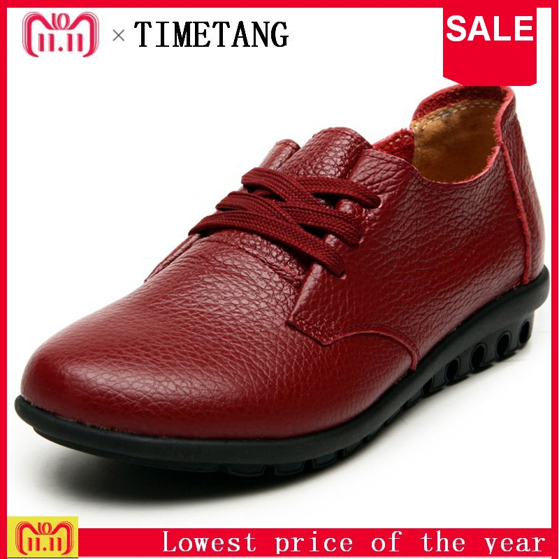 TIMETANG Leather lace flat women's shoes ladies leisure comfortable soft leather shoes Spring and autumn new mothers work C206 цена