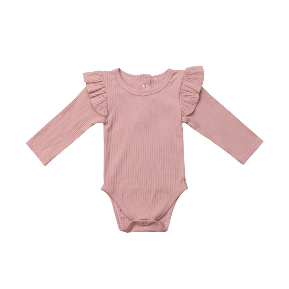 Newborn Bab Girls Kids Clothes   Romper   Long Sleeve Solid Ruffles Jumpsuit Clothes Outfits 0-24M Baby Clothing