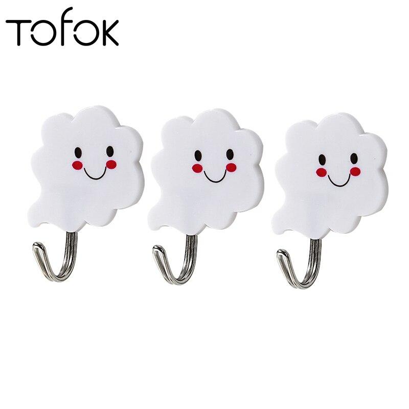 Tofok 3pcs/set Cloud Hanger Adhesive Hooks Stick On Wall Hanging Door Clothes Towel Tableware Holder Racks For Bathroom Kitchen