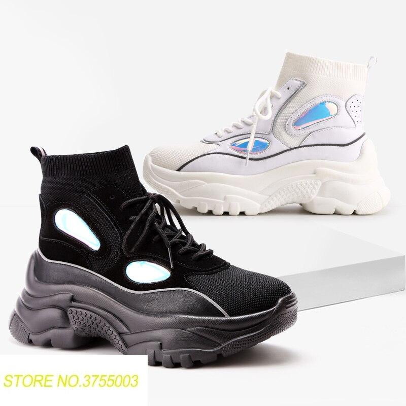 Nouveau haut plate-forme baskets femmes paillettes bottines chaussette chaussures femme unisexe papa Chunky baskets Zapatos De MuJjer