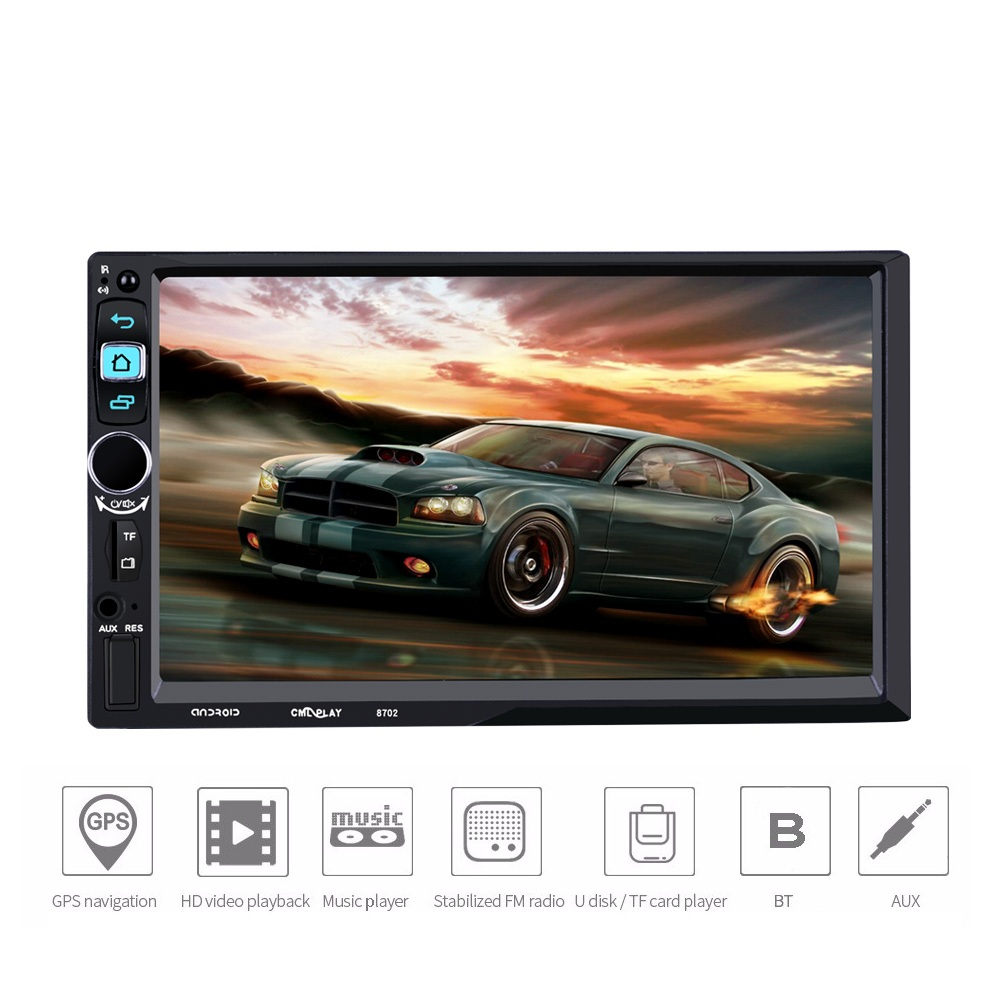 8702 Car Stereo MP5 Player 7 inch Touch Screen 2 Din In-dash Android Car Multimedia Player Bluetooth Audio GPS USB TF AUX