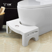 White Color PP Material Foldable Bathroom Toilet Pit Step Stool