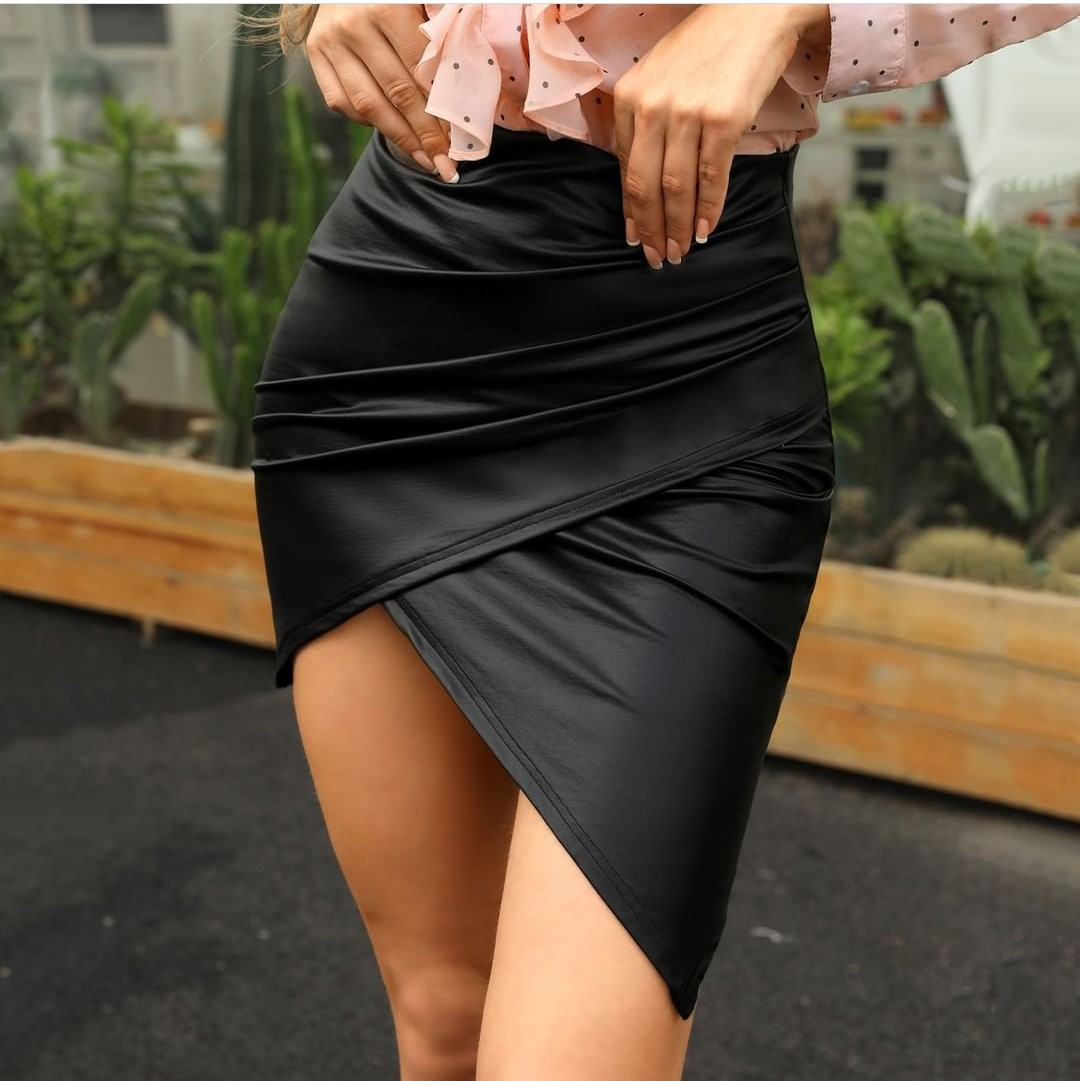 NORMOV Casual Feminine Slim Package Hip Skirt Black Irregular Leather A-line Skirt High Waist Sexy Skirt Mini