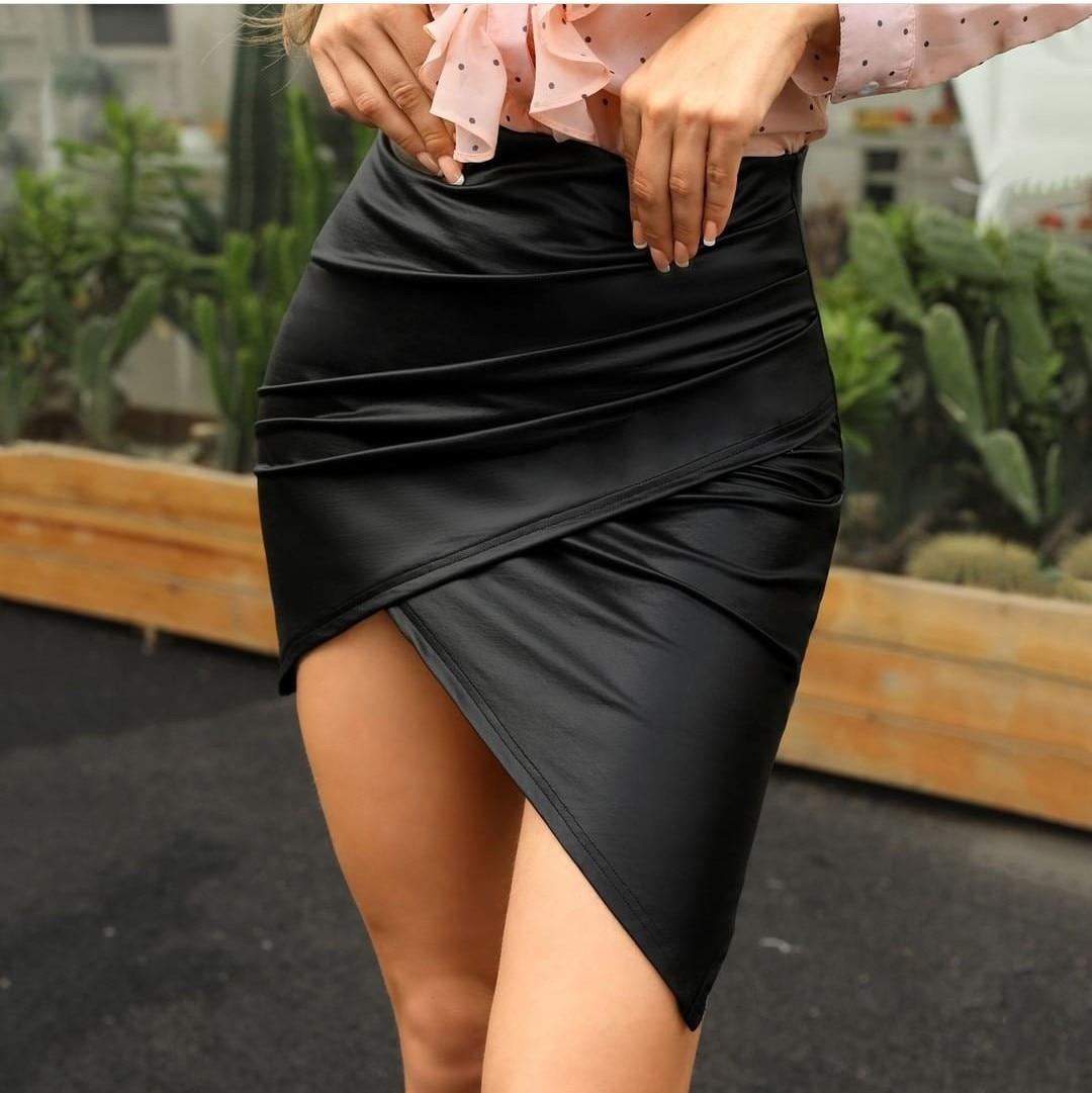 NORMOV Casual Feminine Slim Package Hip Skirt Black Irregular Leather A-line Skirt High Waist Sexy Skirt Mini