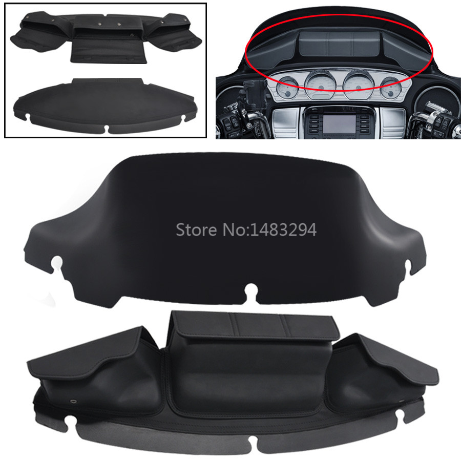 Motorcycle 3 Fairing Pouch Windshield Bag Clamps Storage Bags 7 Black Tint Wave Windshield Fits For