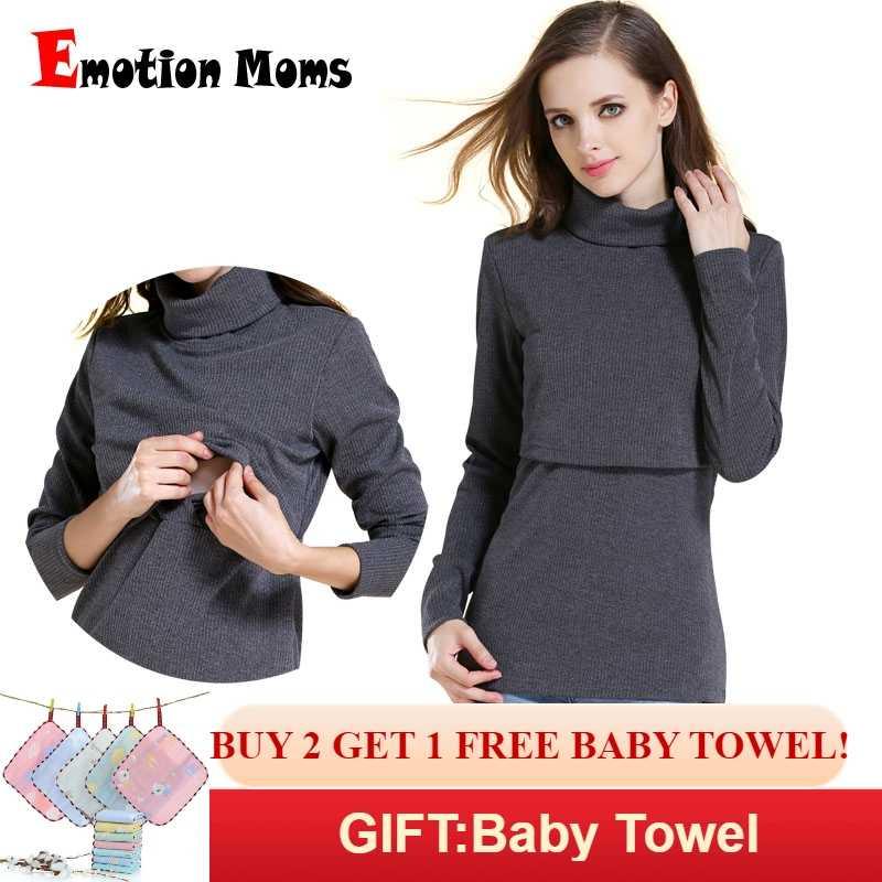 bf277df83c520f4 Emotion Moms зимняя водолазка теплая с длинным рукавом Хлопок Материнство  футболка одежда для кормления Одежда для
