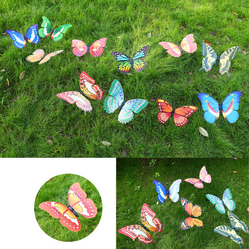 25 Pcs Glowing Butterfly Stakes Patio Plant Pot Lawn and Home Decorative KEANVIK 25 Pcs Glowing Artificial Butterfly Decorative Garden Stakes for Outdoor Yard