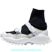 Stretch knit High Top Sneakers Height Increase Platform Women Boots Sport Shoes Woman Warm Sock Boots Casual Flats Buckles Decor