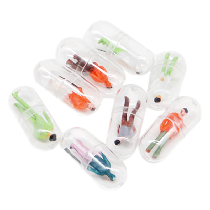 10Pcs/Lot Transparent Capsule Shell Plastic Pill Container Pill Cases Bottle Splitters Capsule Figurines Diy Accessories