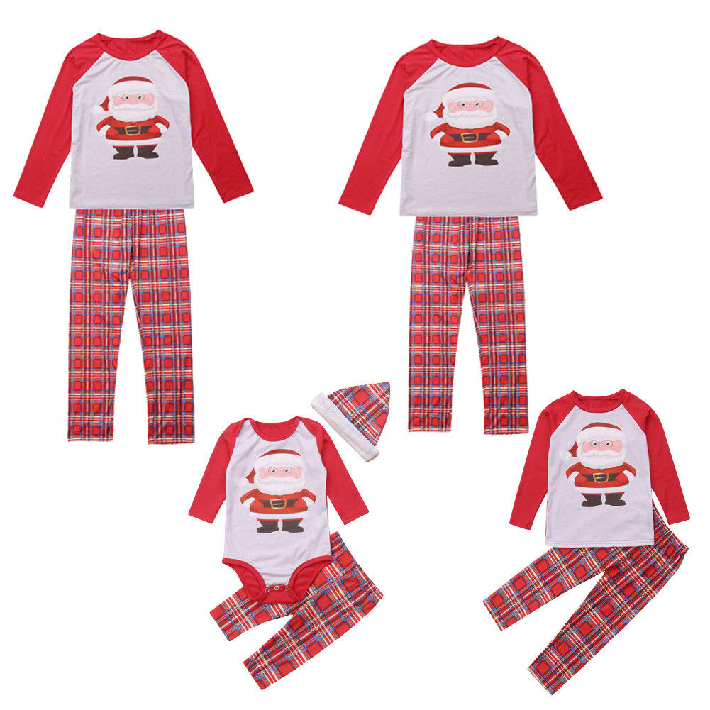 Family Santa Claus XMAS Matching Outfits Adult Women Kids Baby ...