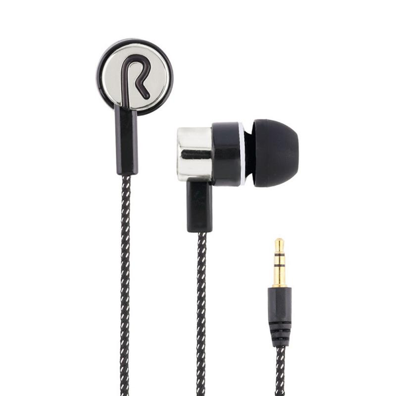 Wire Earphone Stereo Bass Music Earphone In-ear Weaved Wire Earphone Environmentally Friendly Materials With Color Box Packaging
