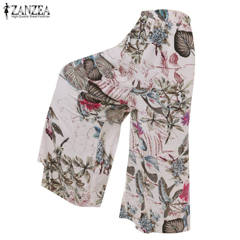 2019 Spring ZANZEA Floral Printed   Wide     Leg     Pants   Women Bohemian Elastic Waist Long Trousers Female Casual Cotton Linen Pantalon