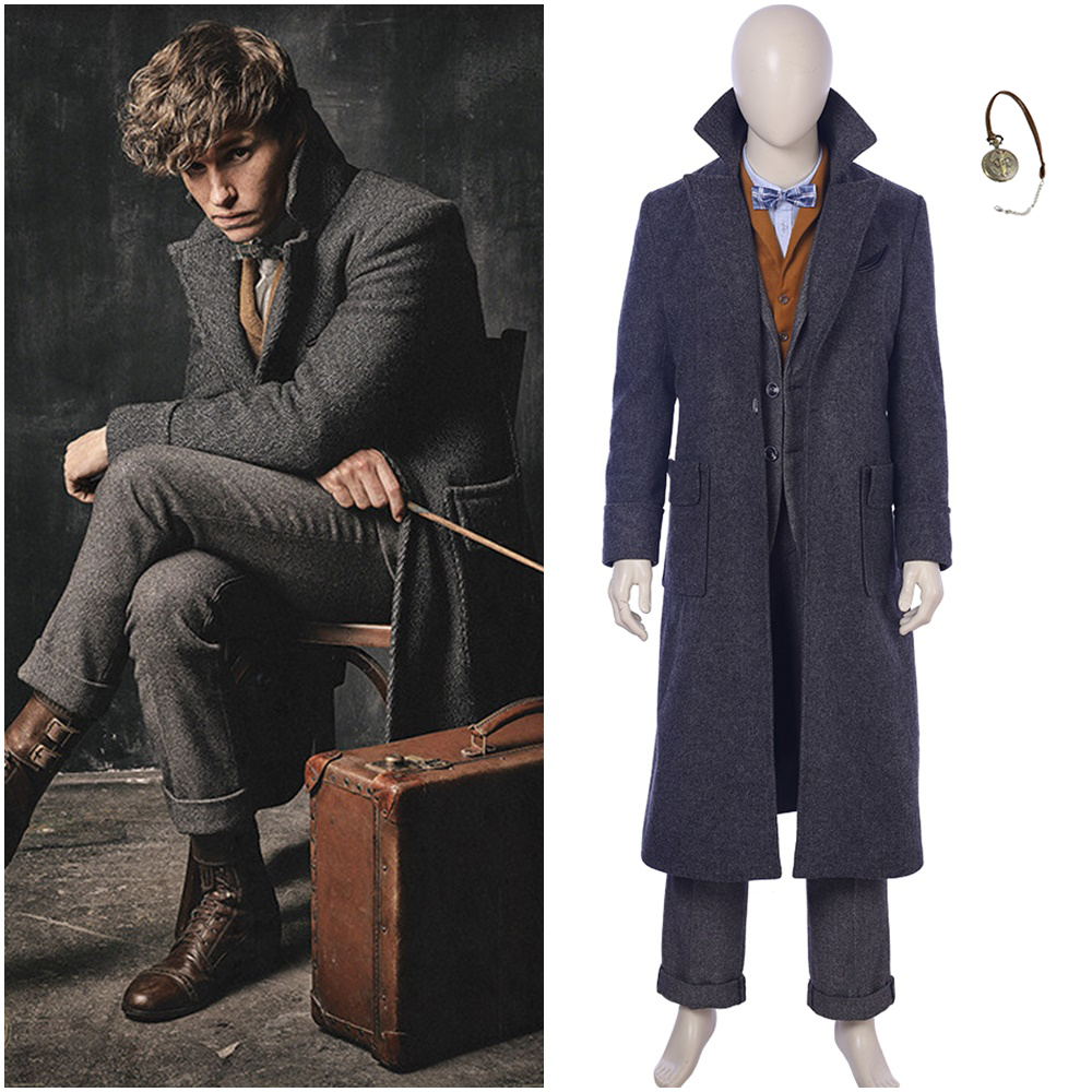 Fantastic Beasts The Crimes of Grindelwald Newt Scamander Cosplay Costume Coat Blazer for Men Adult