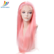 Sevengirls Glueless Malaysian Straight Pink Full lace Human Hair Wigs With Baby Hair Pre Plucked Virgin Human Hair For Women(China)