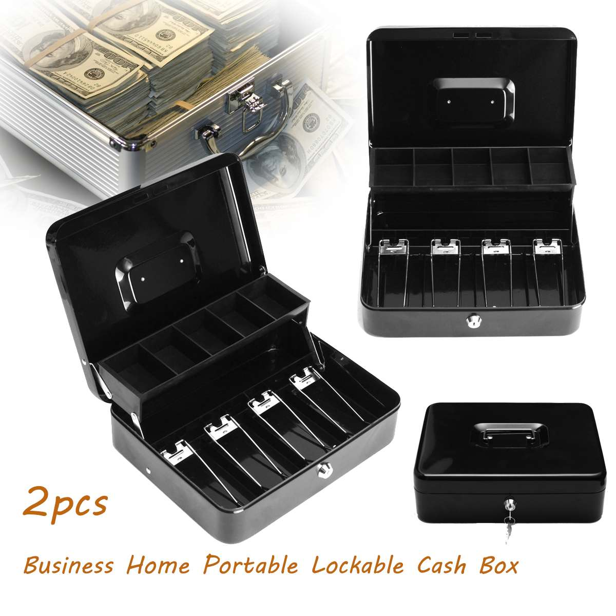 6 compartment Holds All Types of US Coins Coin Counter Sorter Money Tray