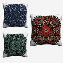 Mandala Psychedelic Circle Flowers Decorative Cotton Linen Cushion Cover 45x45cm For Sofa Chair Pillowcase Home Decor Almofada цена