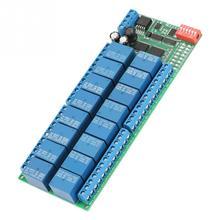 Dc 12v realy 16 canais rs485 módulo de relé rtu placa relé controlador plc porta serial interruptor 485 relais